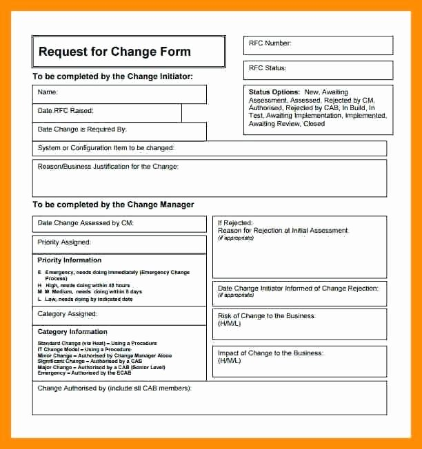 Change Request form Simple Portrayal Process Template It