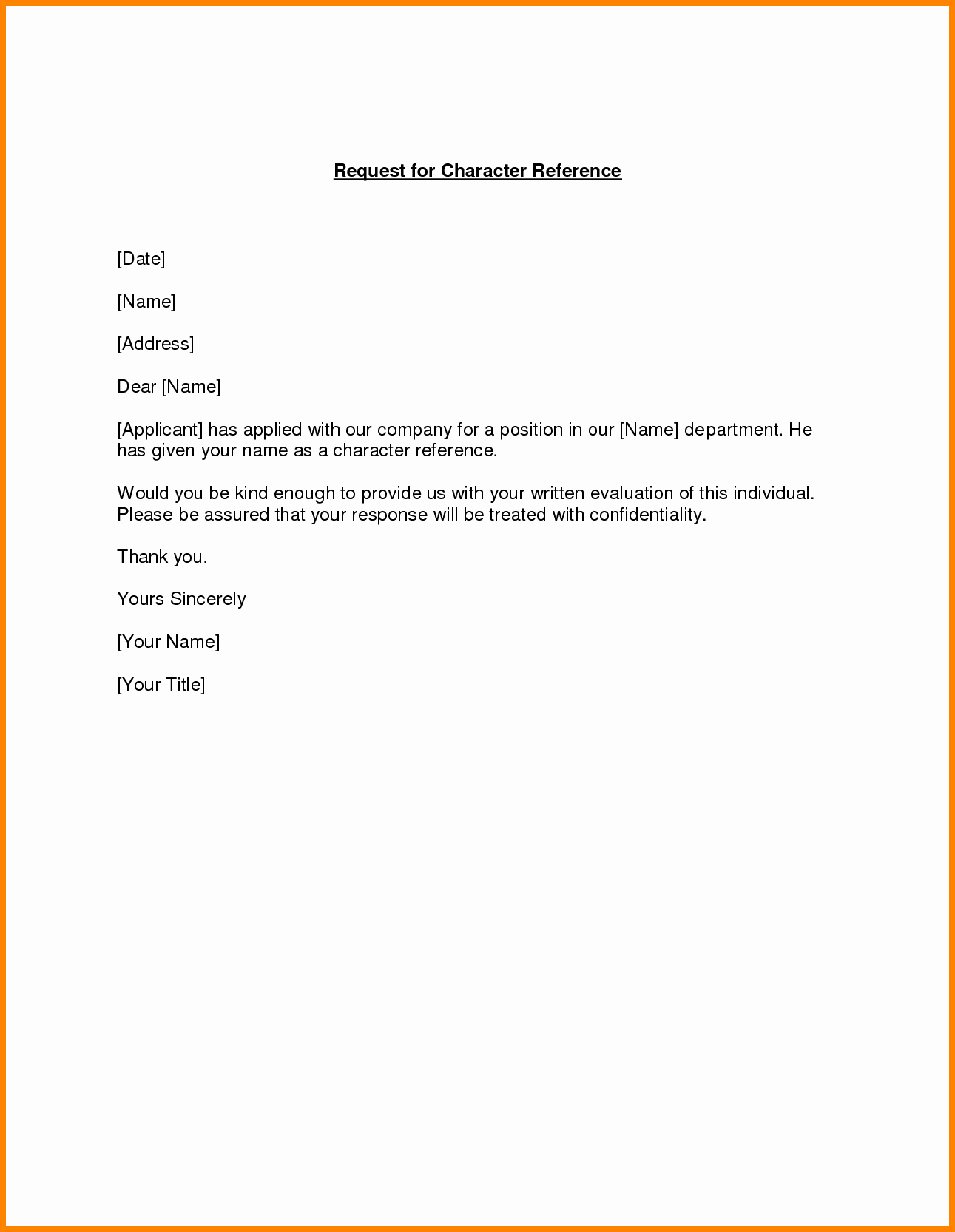 Character Reference Letter Example Friend