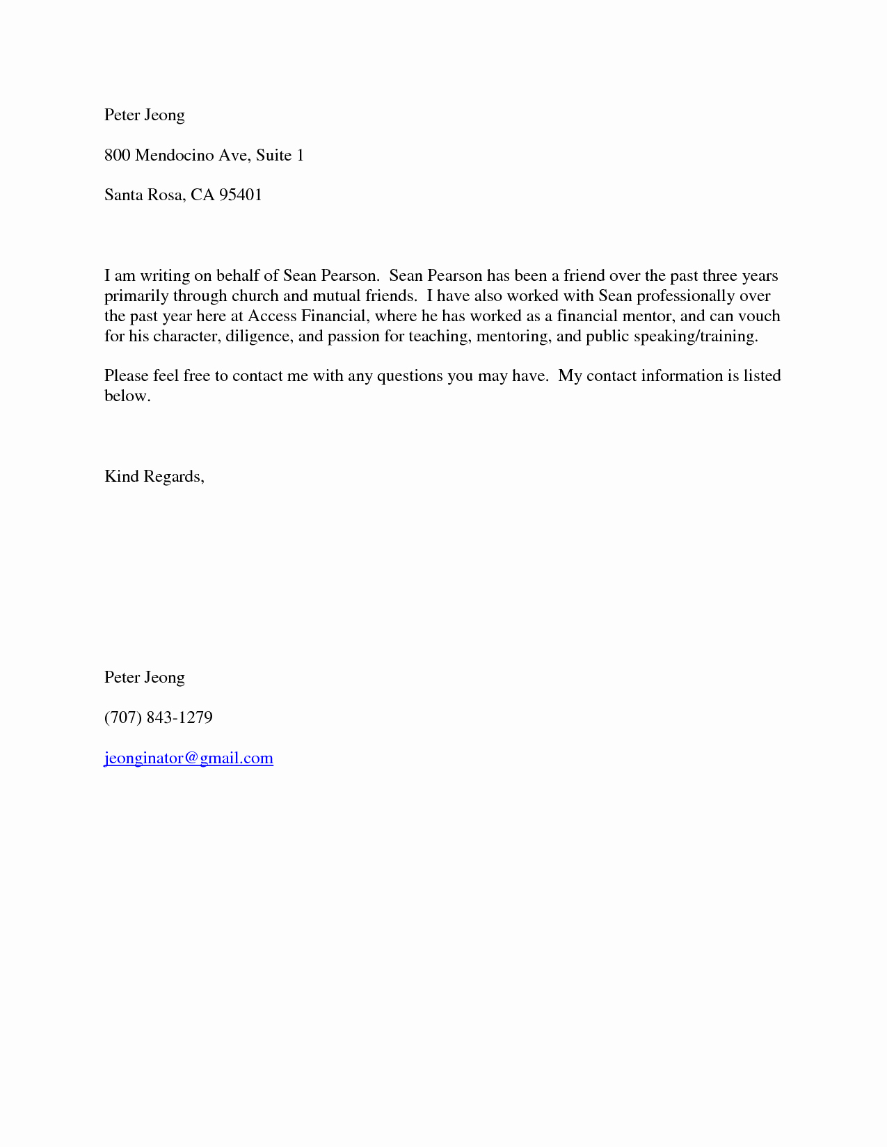 Character Reference Letter format Friend