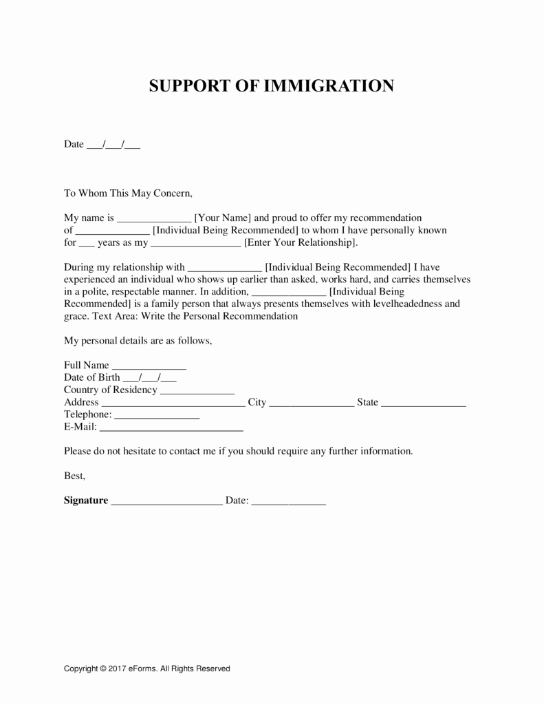 Character Reference Letter to Immigration Judge