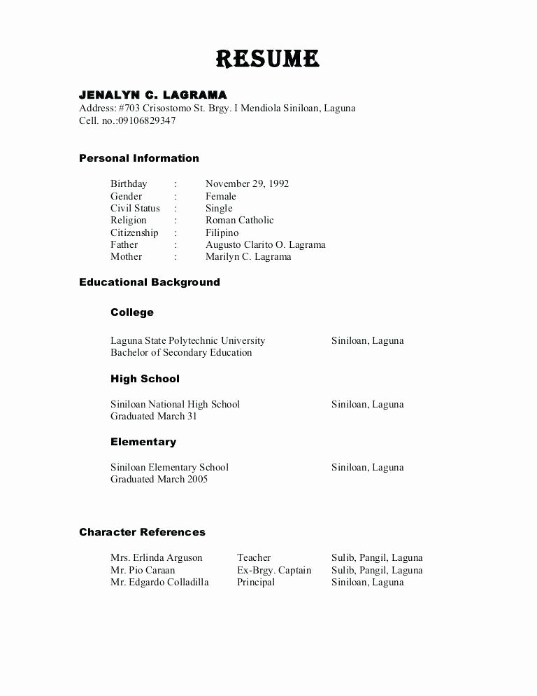 Character Reference Resume Best Resume Collection