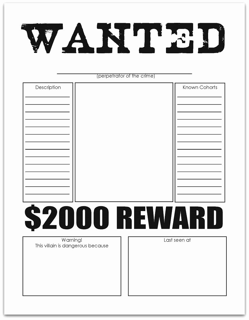 Character Wanted Posters Free Printables