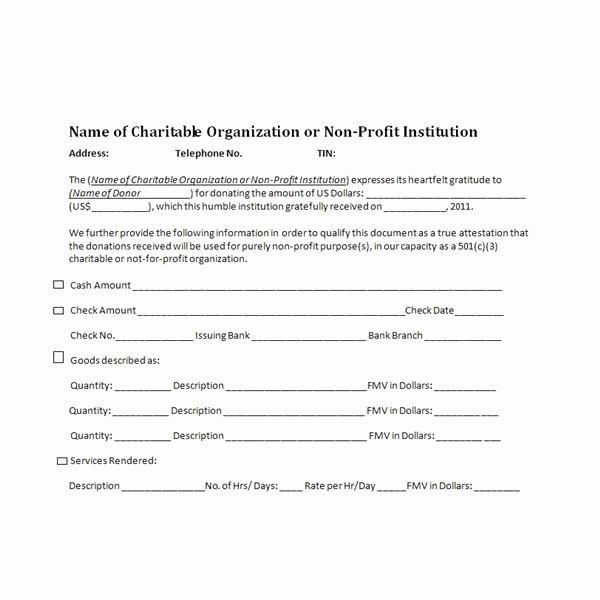 Charitable Donation Receipts Requirements as Supporting