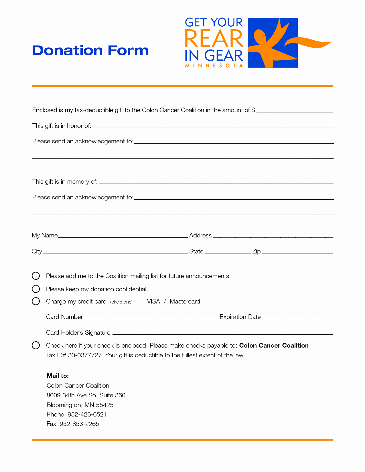 Charity Donation form Template Free Printable Documents