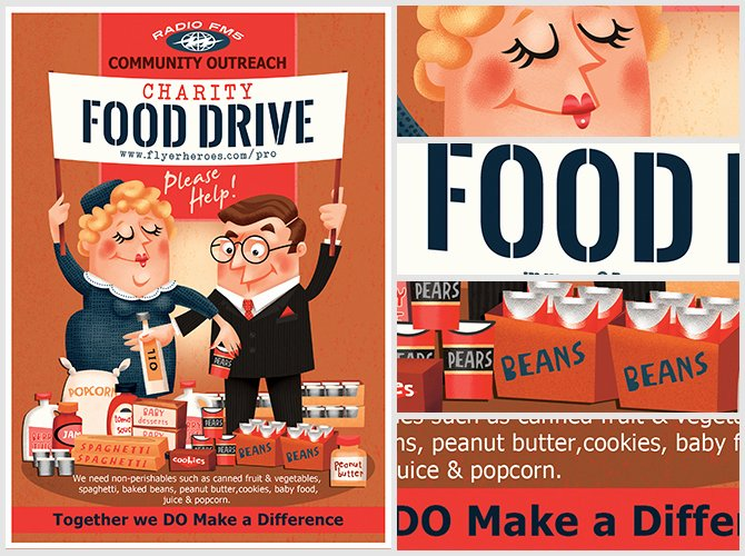 Charity Food Drive Flyer Template Flyerheroes