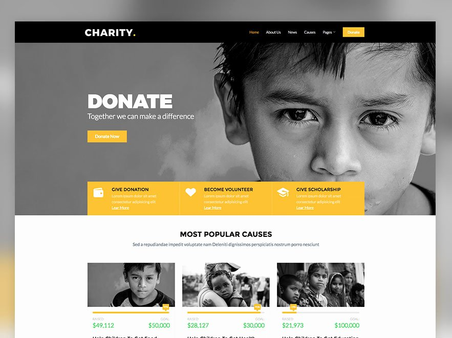 Charity – Free Non Profit Responsive Bootstrap Website