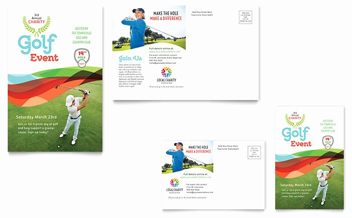 Charity Golf event Postcard Template Word & Publisher