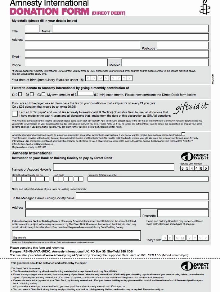 Charity Pledge form Template Uk Templates Resume