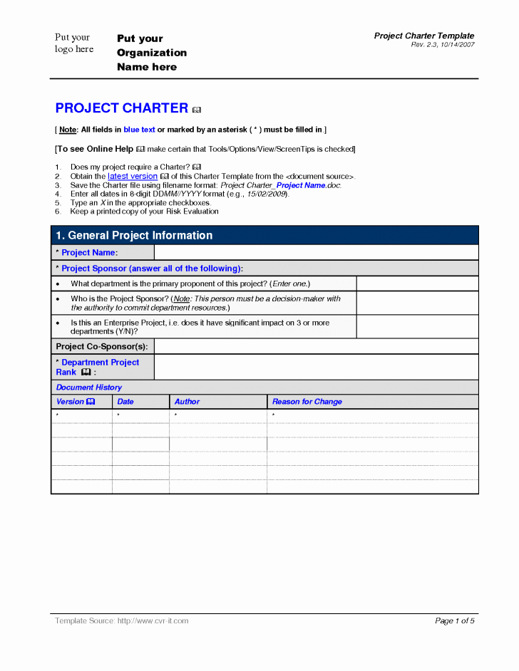 Chart Project Charter Template