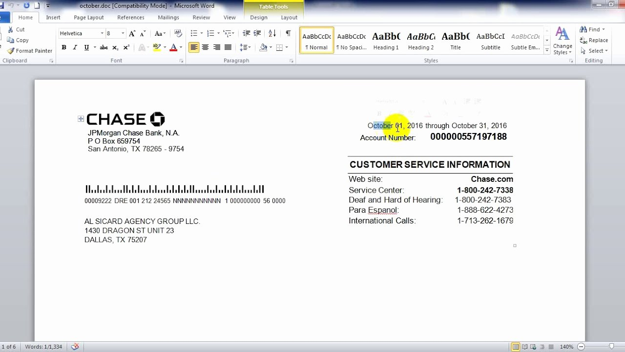 Chase Bank Statement In Word Psd File