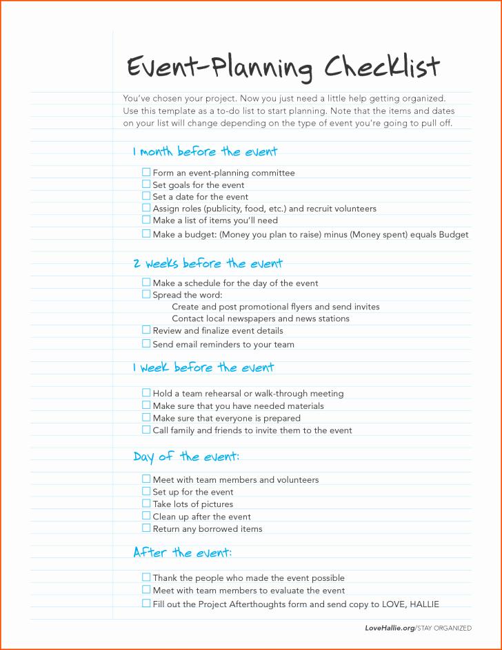 Checklist event Planning Checklist Template