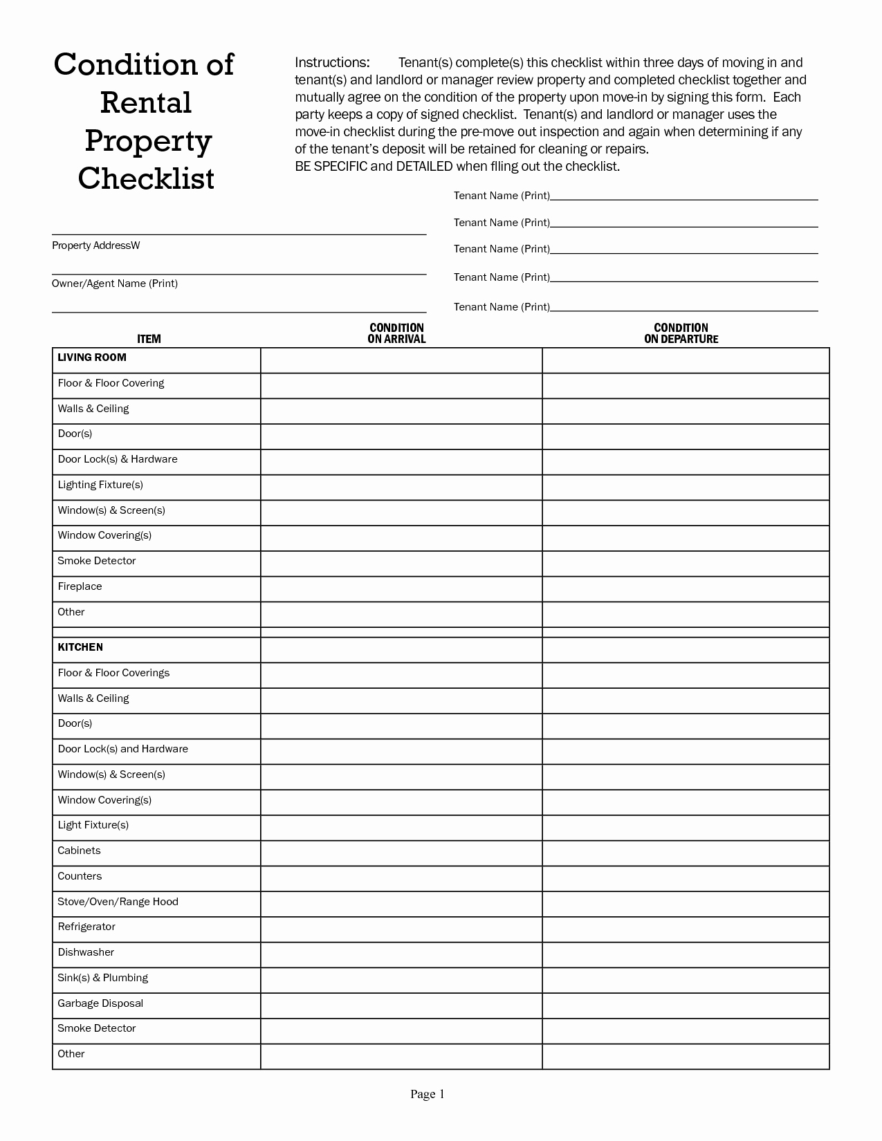 Checklist Home Inspection Checklist Template