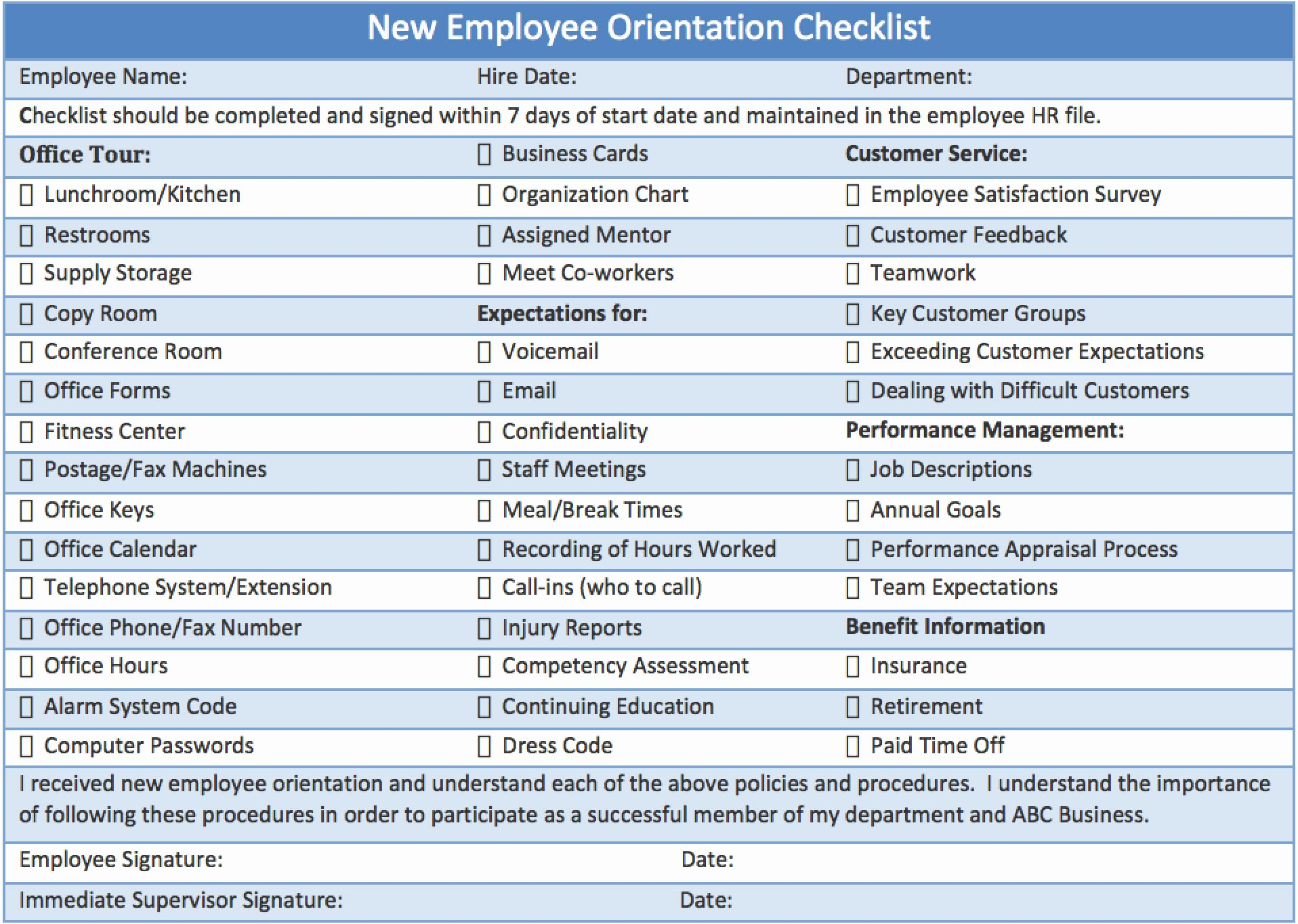 Checklist New Employee orientation Download Template Ml