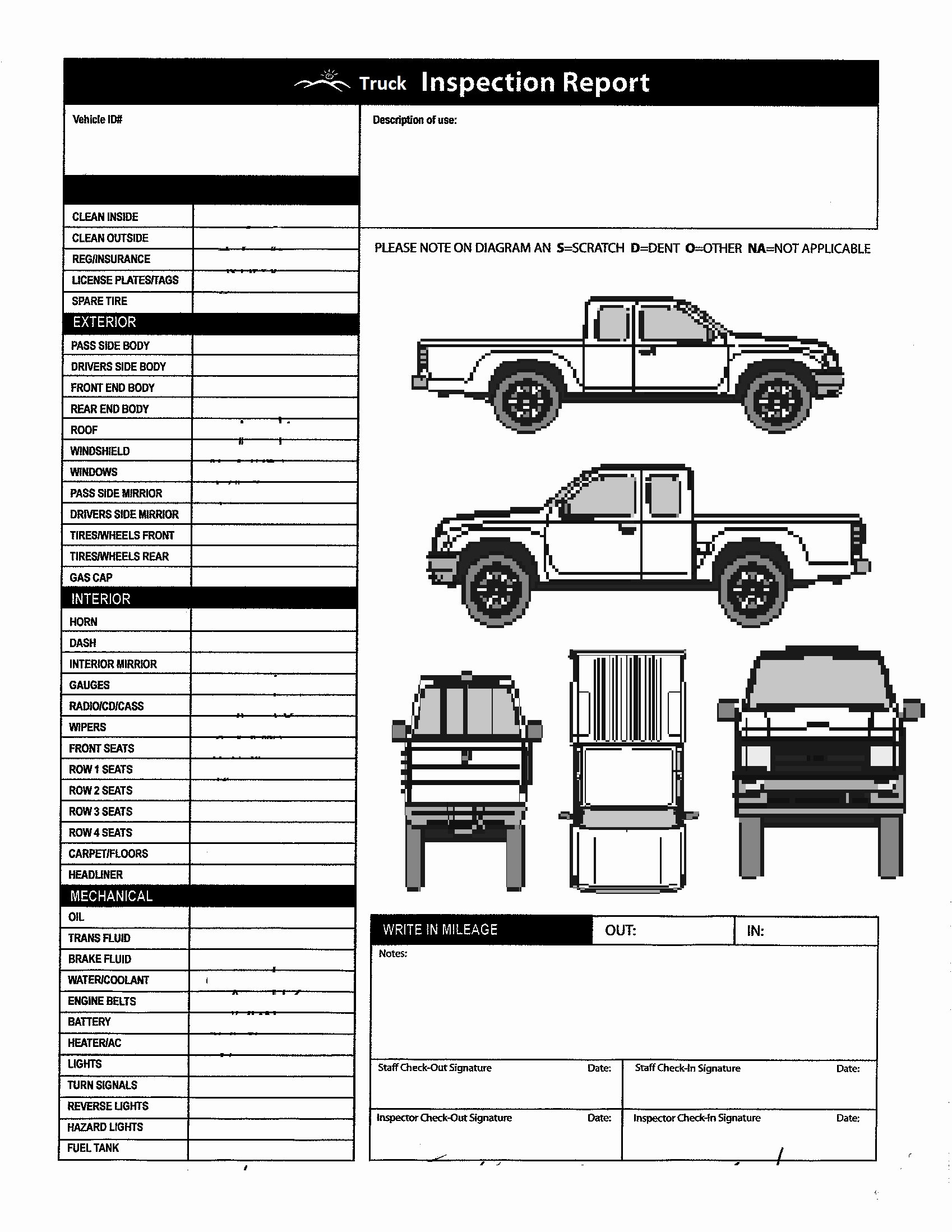 Checklist Printable Vehicle Inspection Checklist Template