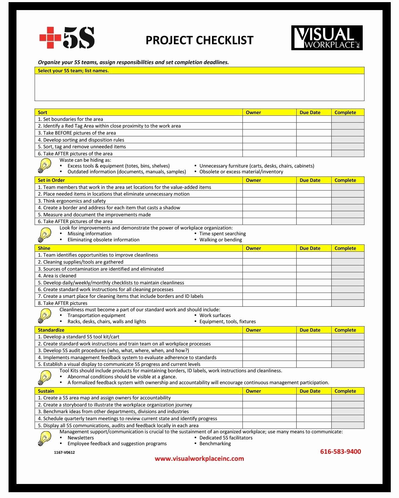 Checklist Project Checklist Template