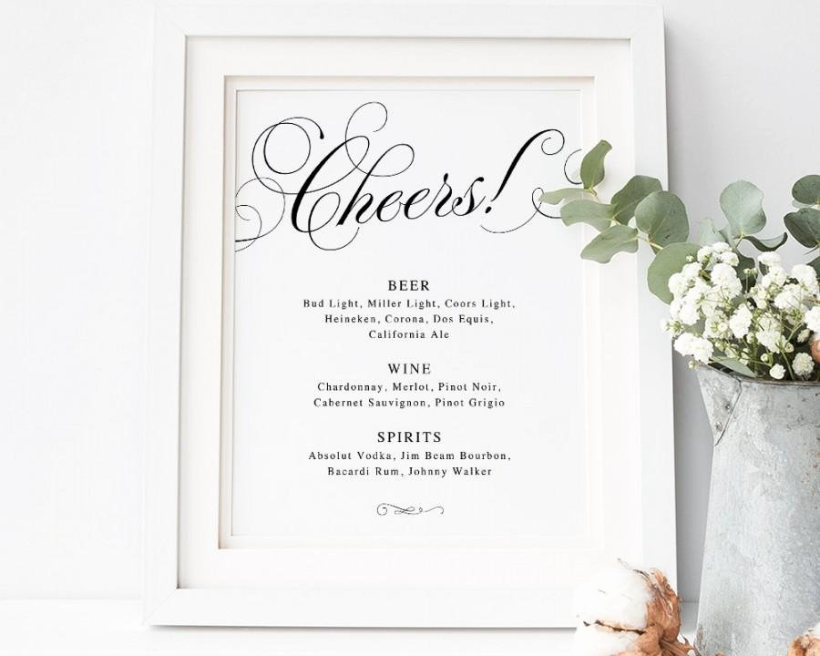 Cheers Bar Sign Bar Menu Sign Wedding Bar Sign Wedding