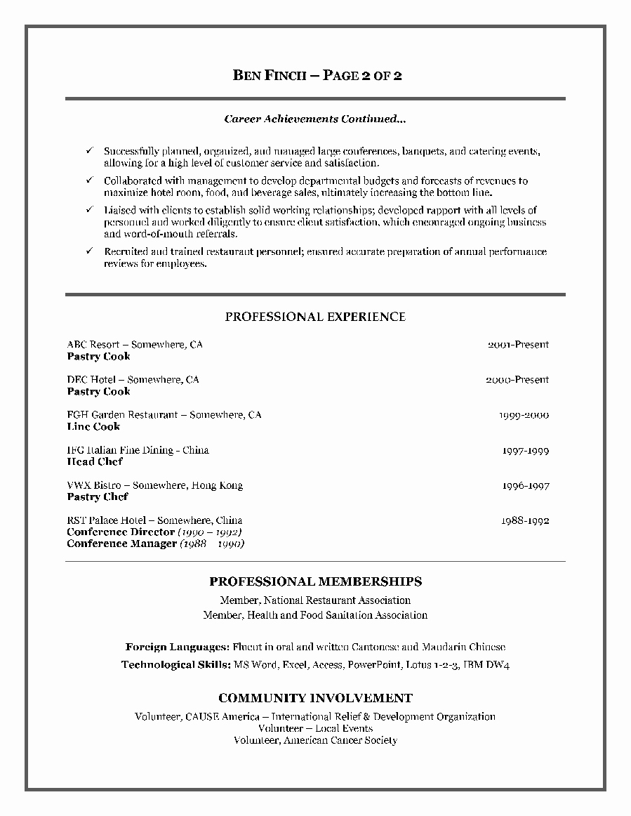 Chef Resume Samples Example Cook Resume format Ms Word