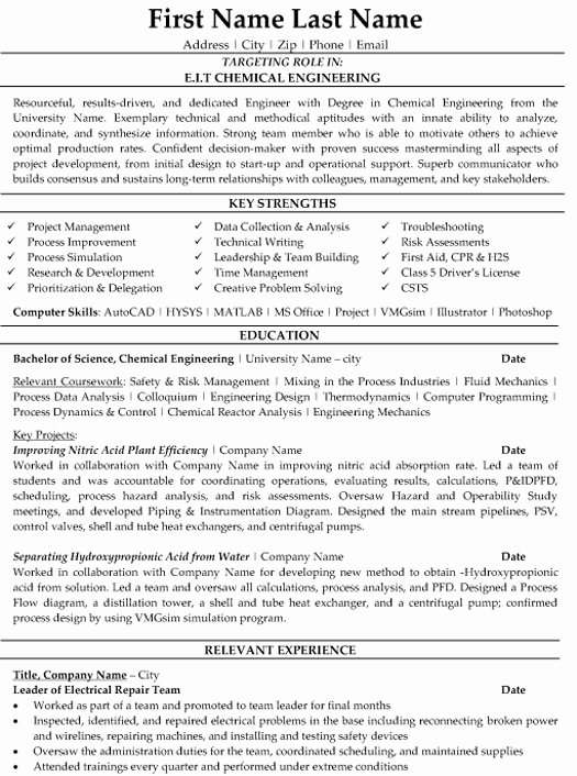 Chemical Engineer Resume Sample & Template