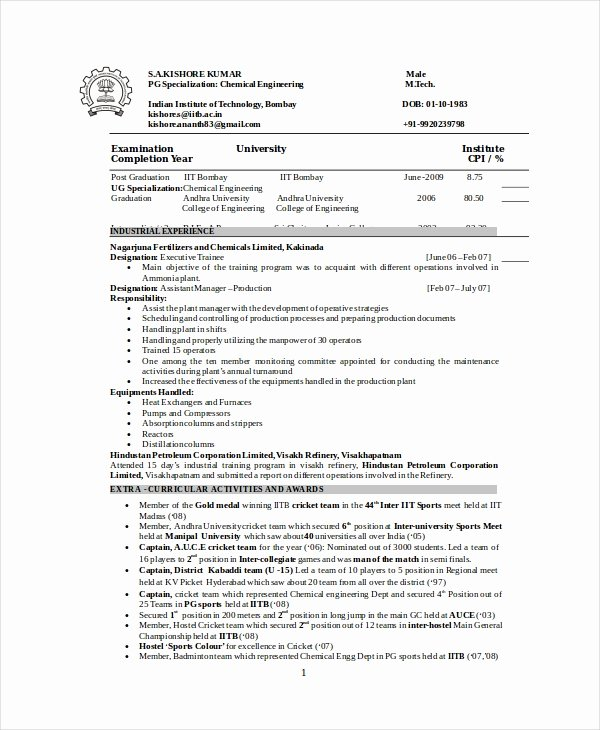 Chemical Engineer Resume Template 6 Free Word Pdf