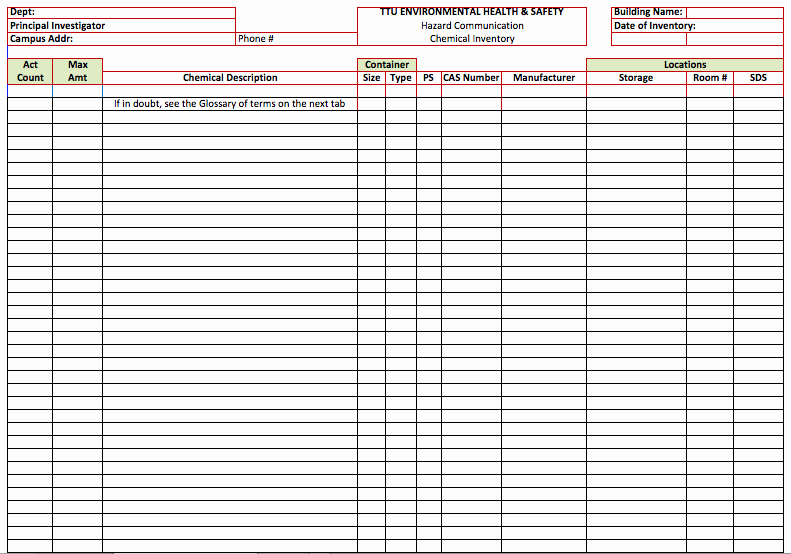 Chemical Inventory List Template Microsoft Fice Templates