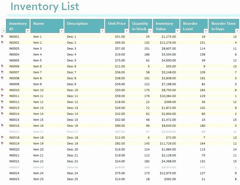 Chemical Inventory List Template New Inventory List Excel