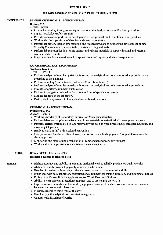 Chemistry Lab Technician Resume Medical Lab Technician Cv