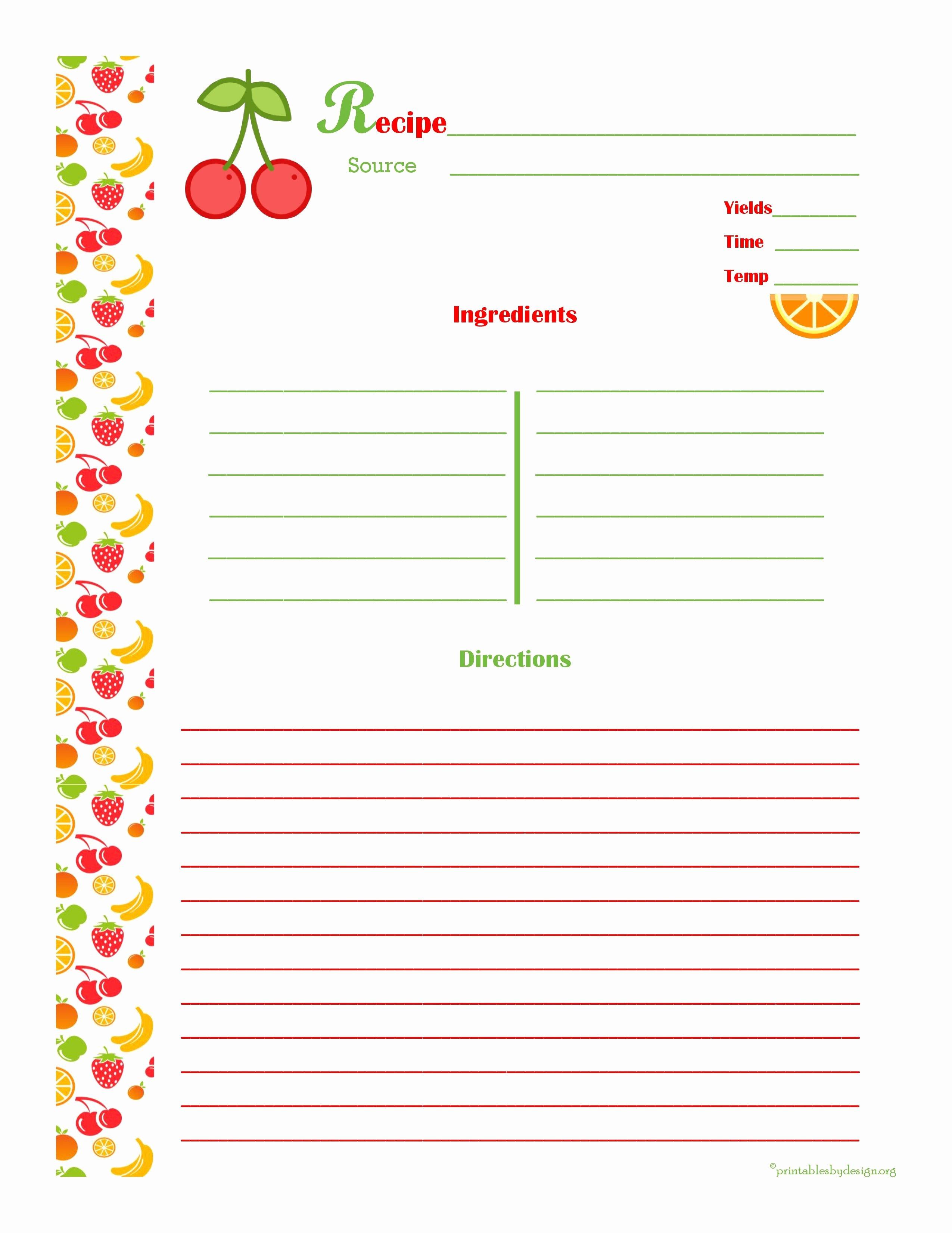 Cherry & orange Recipe Card Full Page