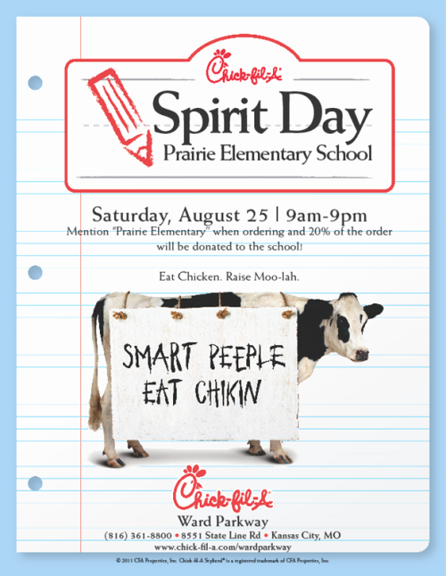 Chick Fil A Spirit Night Fundraisers Flyer Idea