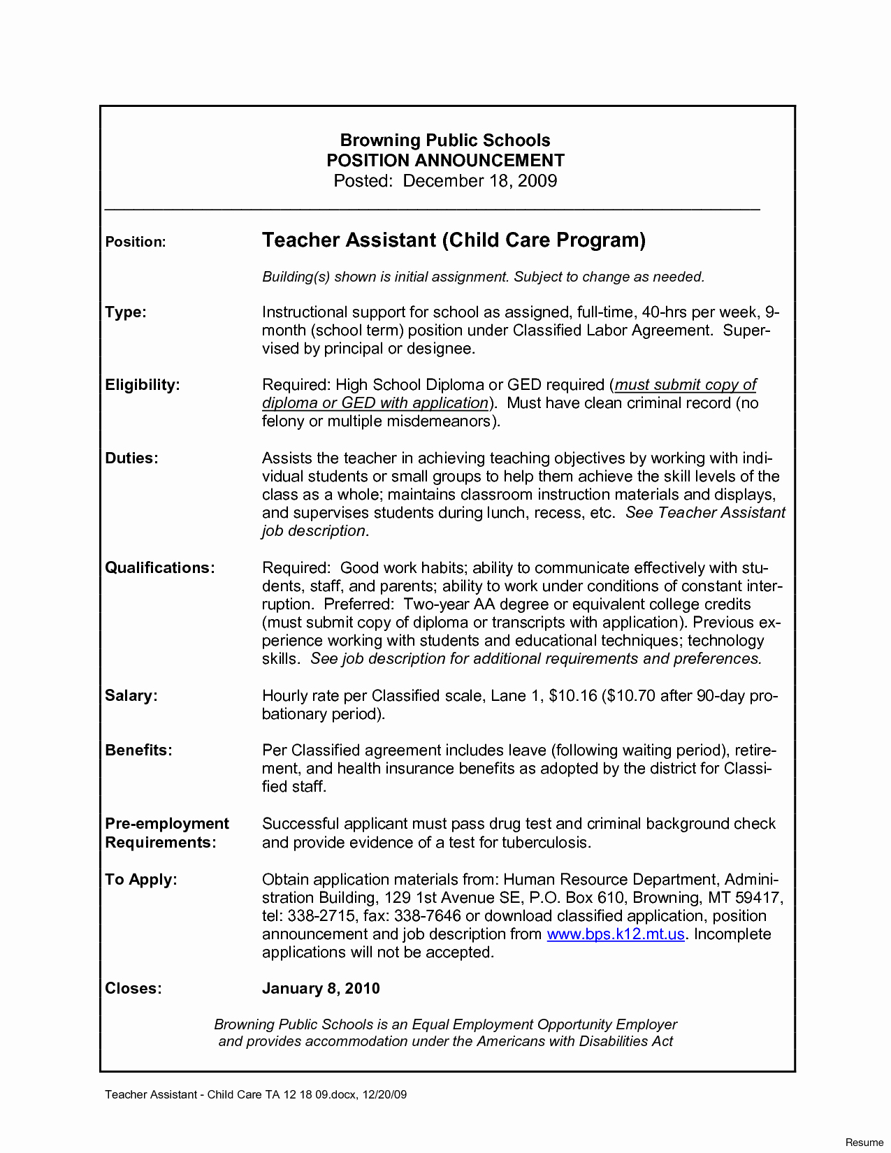 Child Care assistant Resume Objective