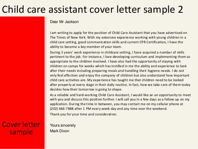 Child Care Cover Letter