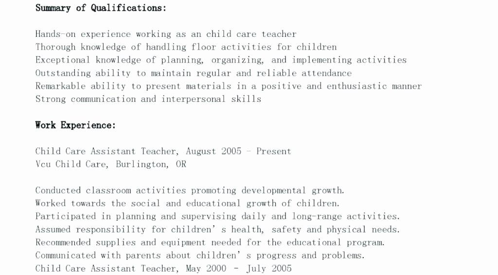 Child Care Director Resume Australia Preschool Teacher