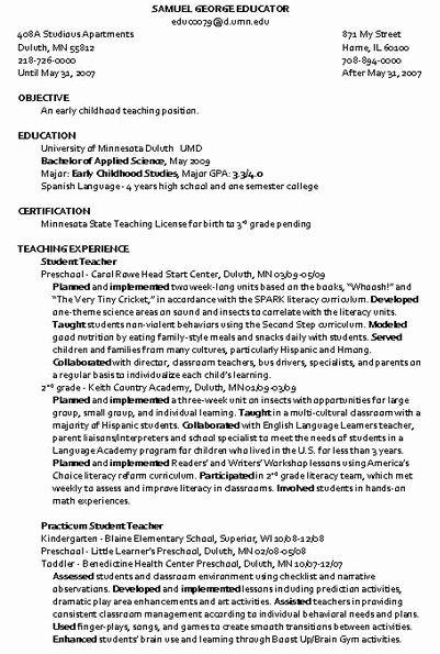 Child Care Instructor Resume Sample