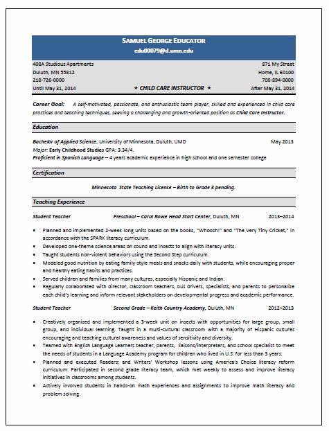 Child Care Instructor Resume Sample