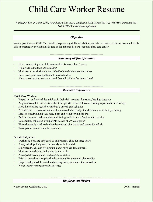 Child Care Job Description for Resume