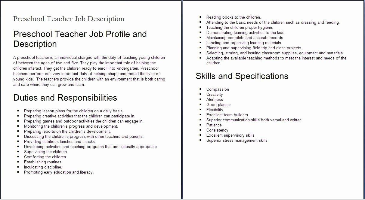 Child Care Job Duties Resume
