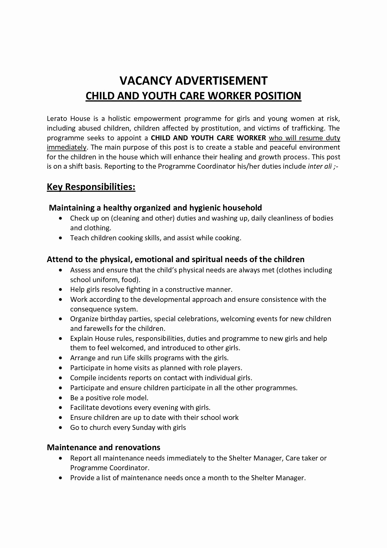 Child Care Provider Resume Template