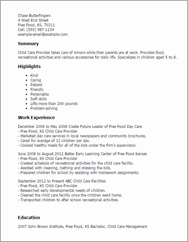 Child Care Provider Resume Template — Best Design & Tips