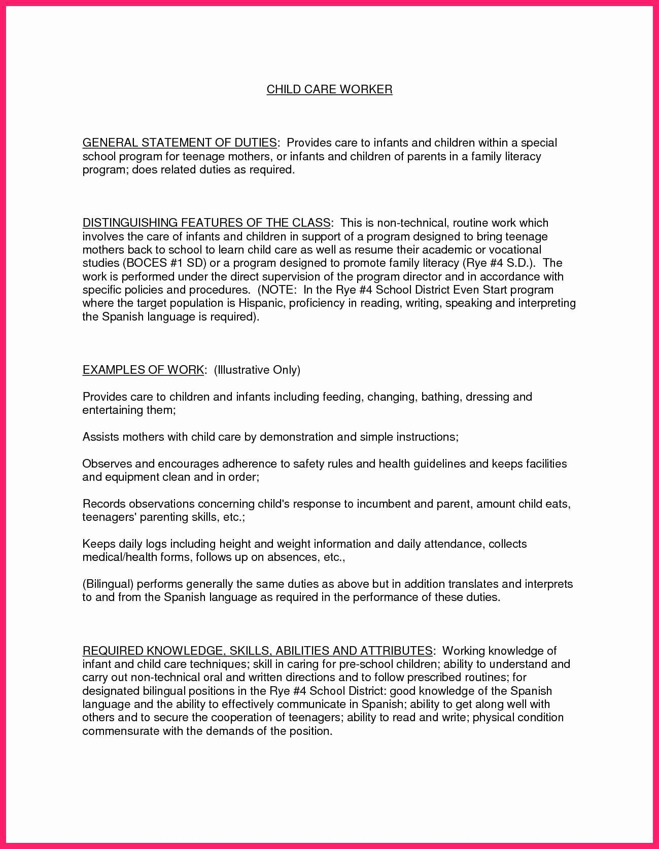 Child Care Provider Resume