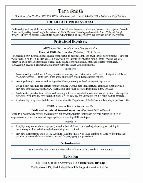 Child Care Resume Sample
