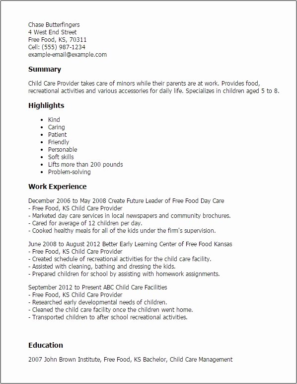 Child Care Resume Sample