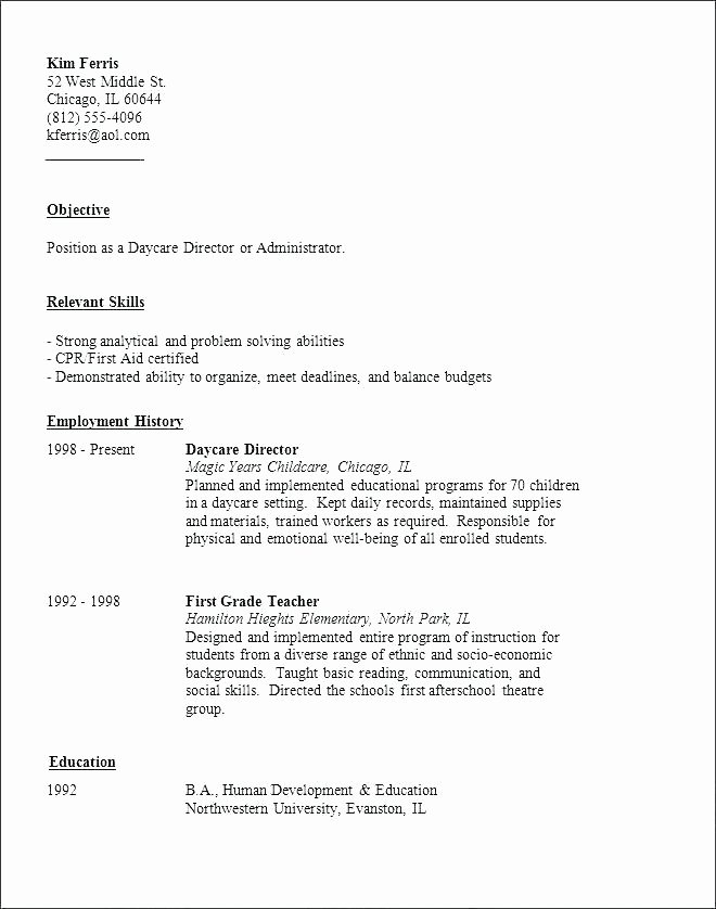 Child Care Sample Resume Sample Resume Child Care Sample