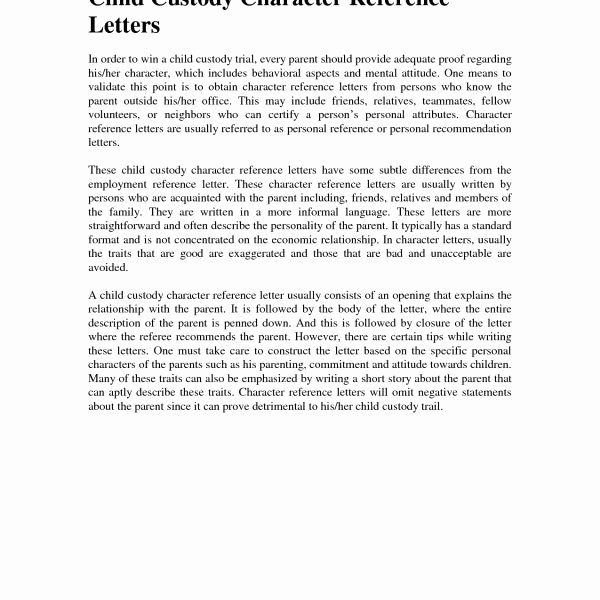 Child Custody Letter Re Mendation Templates