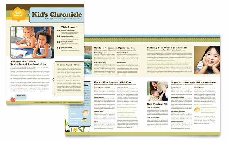 Child Development School Newsletter Template Word