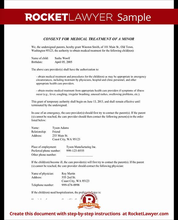 Child Medical Consent form Parental Medical