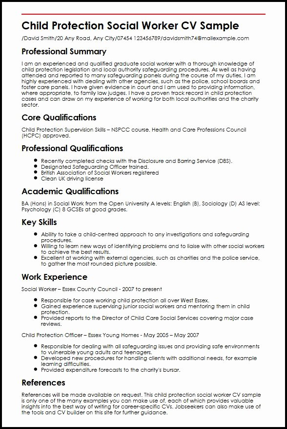 Child Protection social Worker Cv Sample
