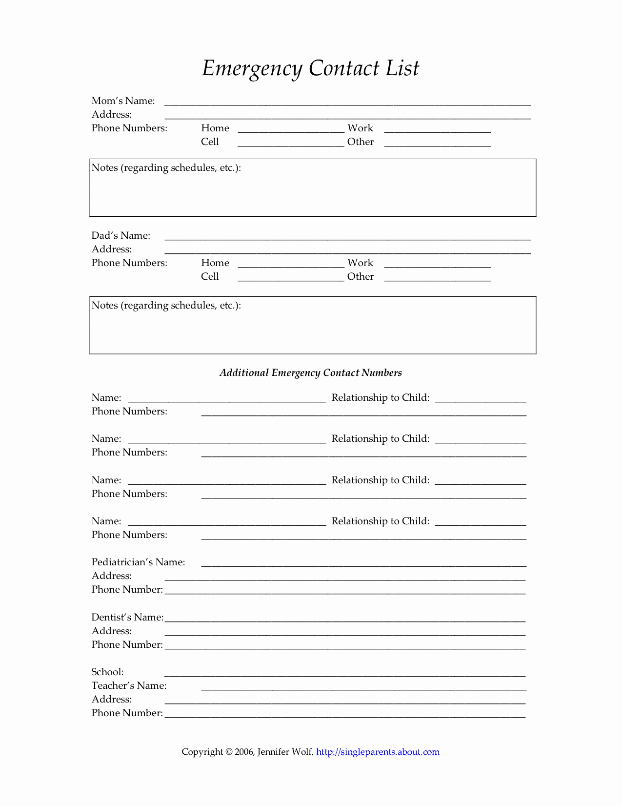 Child S Emergency Contact form
