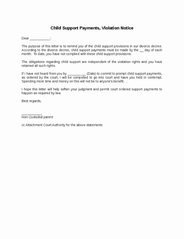 Child Support Agreement Letter Good Child Support Payments
