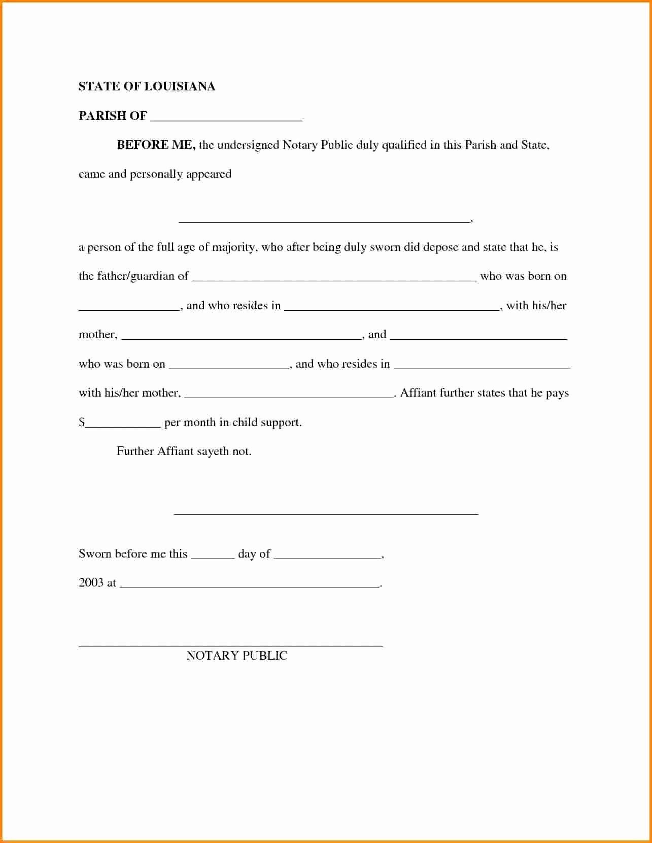 Child Support Letter Agreement Template Download