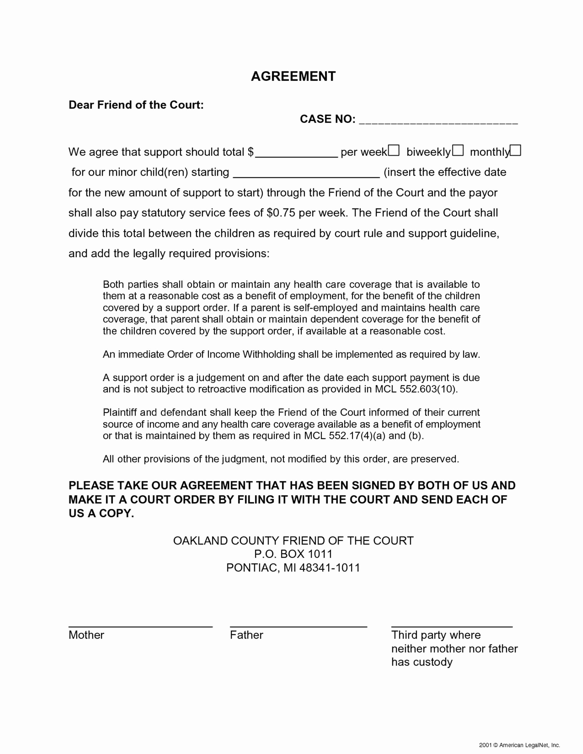 Child Support Letter Agreement Template Sample