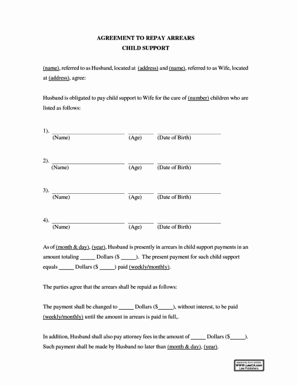 Child Support Payment Agreement Template